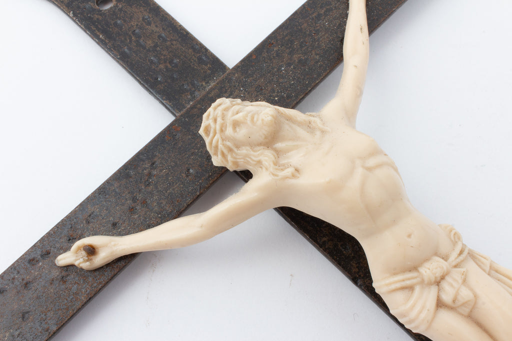 Vintage French Iron Crucifix with Resin Corpus