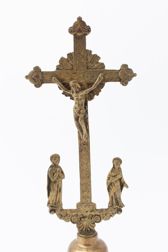 Antique French Standing Gothic Crucifix in Brass