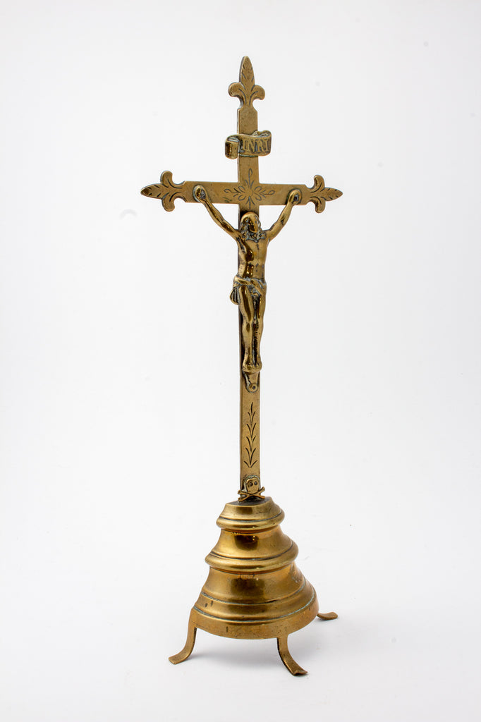 Vintage French Brass Standing Crucifix