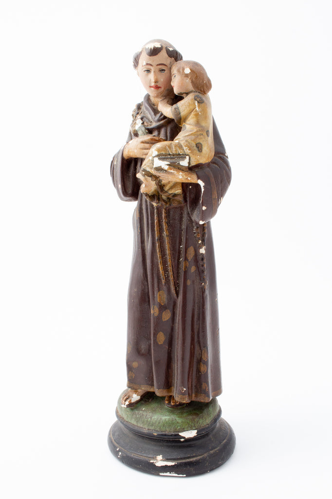 Antique French Hand-Painted Plaster St. Anthony Statue