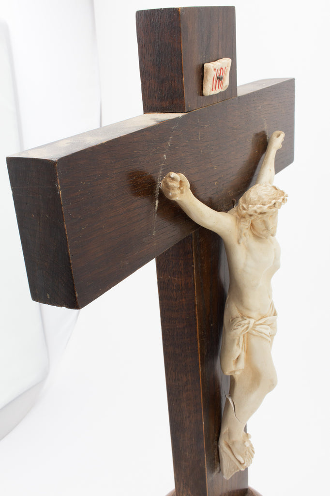Mid-Century Wood & Plaster Altar Crucifix found in Belgium