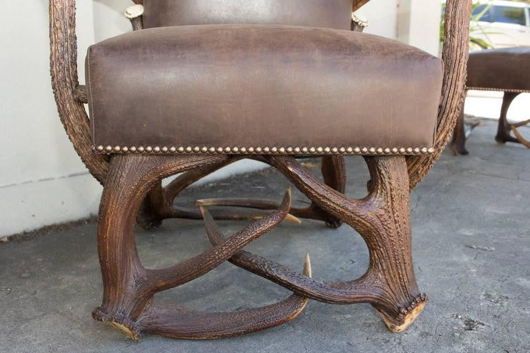 Antique Habsburg Red Stag Antler Leather Chair and Ottoman