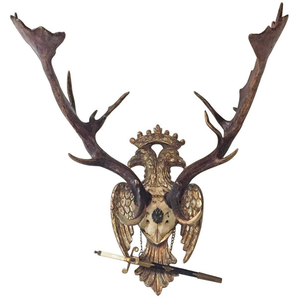 Imperial Russian Fallow Trophy on Hand Carved Gilt Plaque with Sword