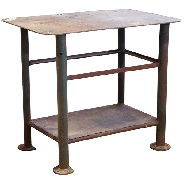 Antique Industrial French Iron Worktable Counter Bar