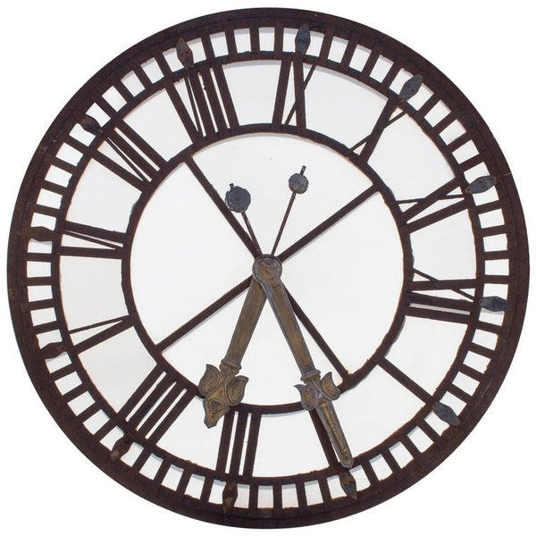 19th Century French Iron and Glass Clock Face from a French Church Tower