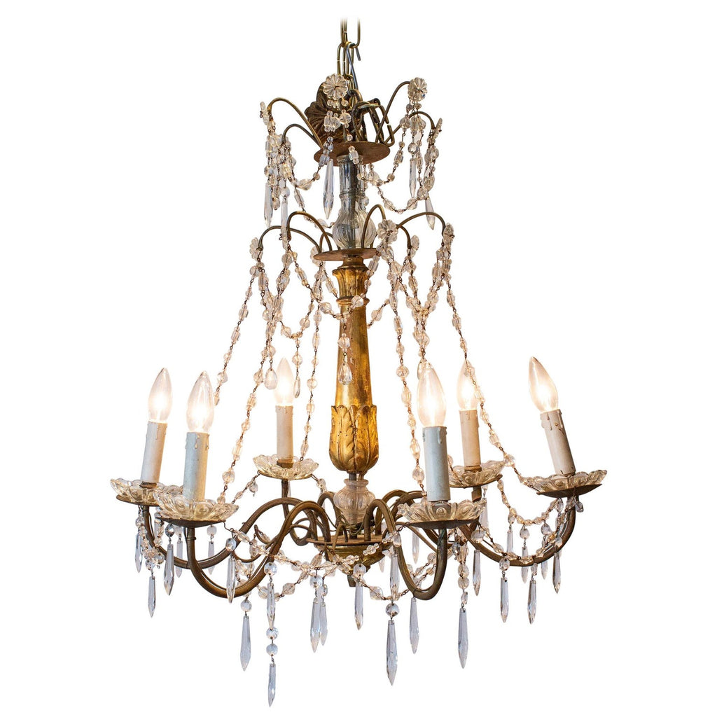 Antique Italian Crystal Genovese Six-Light Chandelier