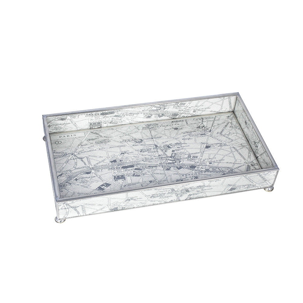 Glass Tray with Vintage European Map Image