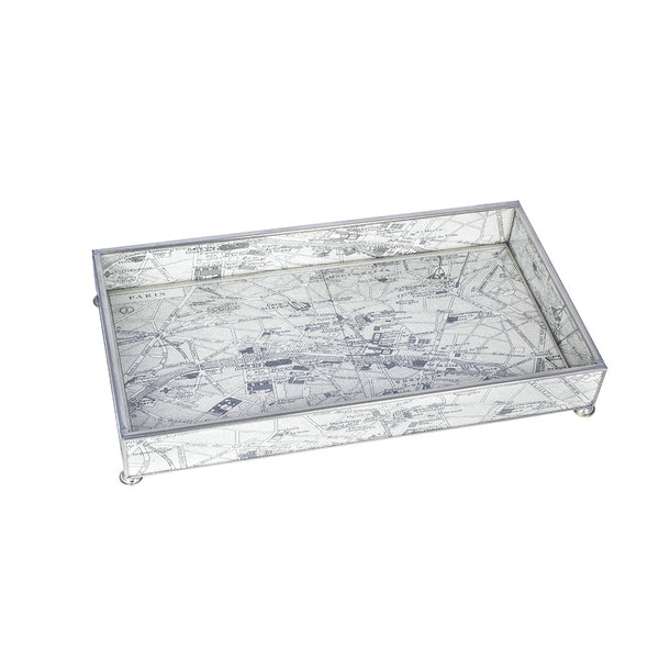 Nickel & Glass Tray with Vintage European Map Design