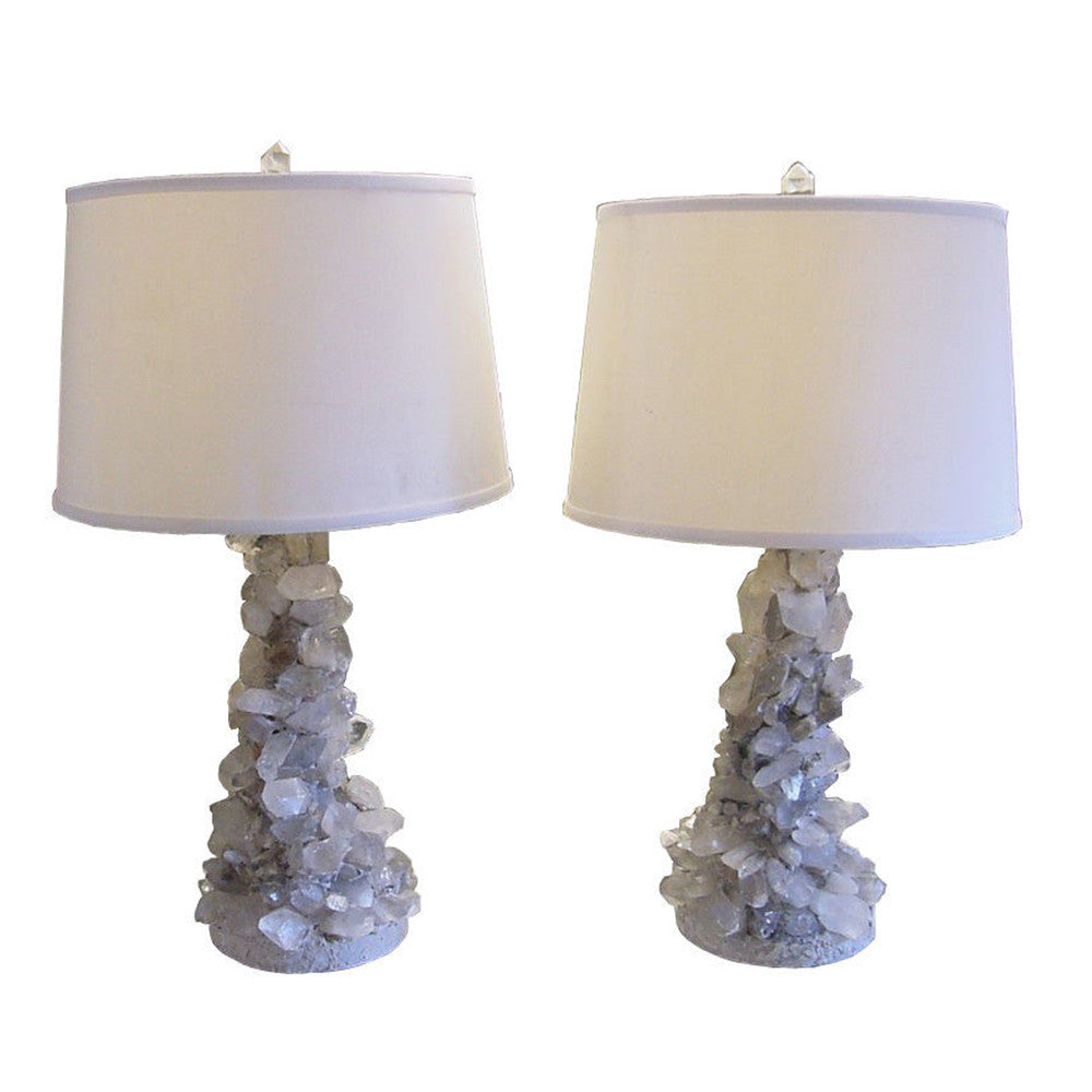 Rock Crystal Table Lamp - Brutalist quartz rock crystal lamps pair