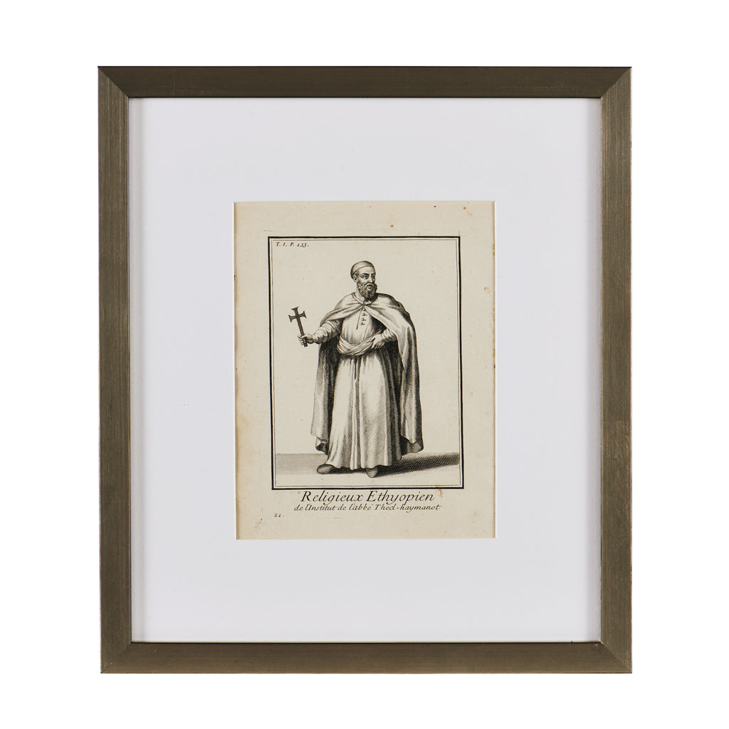 Antique French Image of Ethiopian Monk