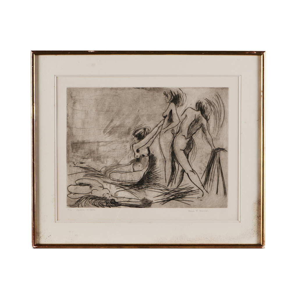 Antique French Framed Etching