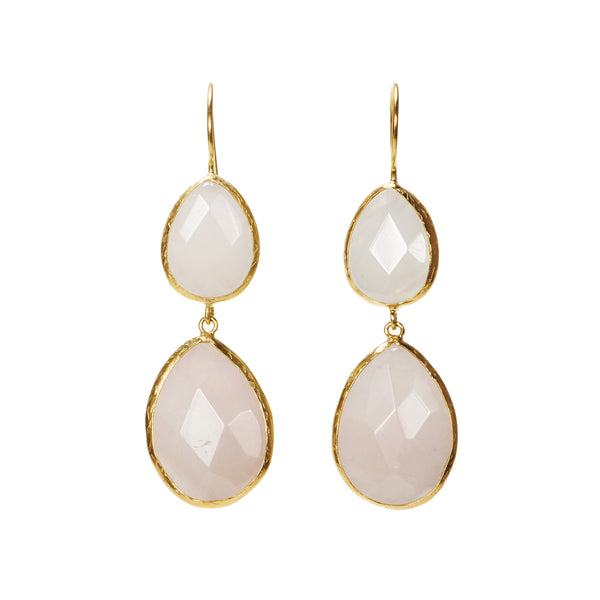 Turkish Delights Earrings: Rose Quartz Gold Earrings