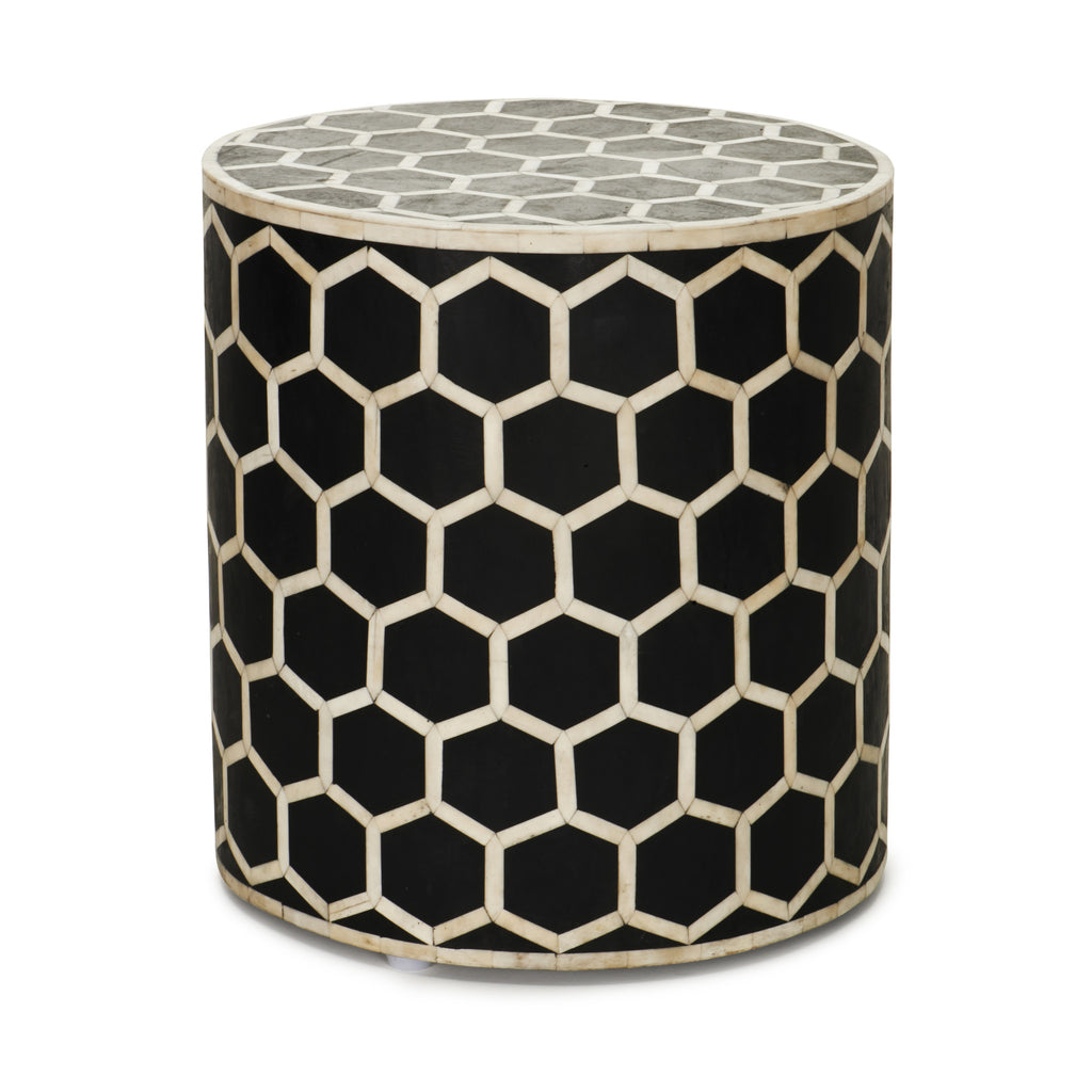Inlaid Bone Honeycomb Stool & Side Table