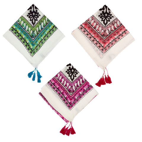 Square Key Scarf with Tassels - Three Colors