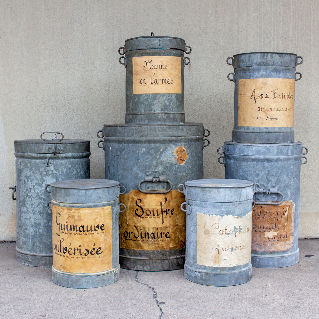 Antique French Zinc Canisters from a Paint Supply Shop
