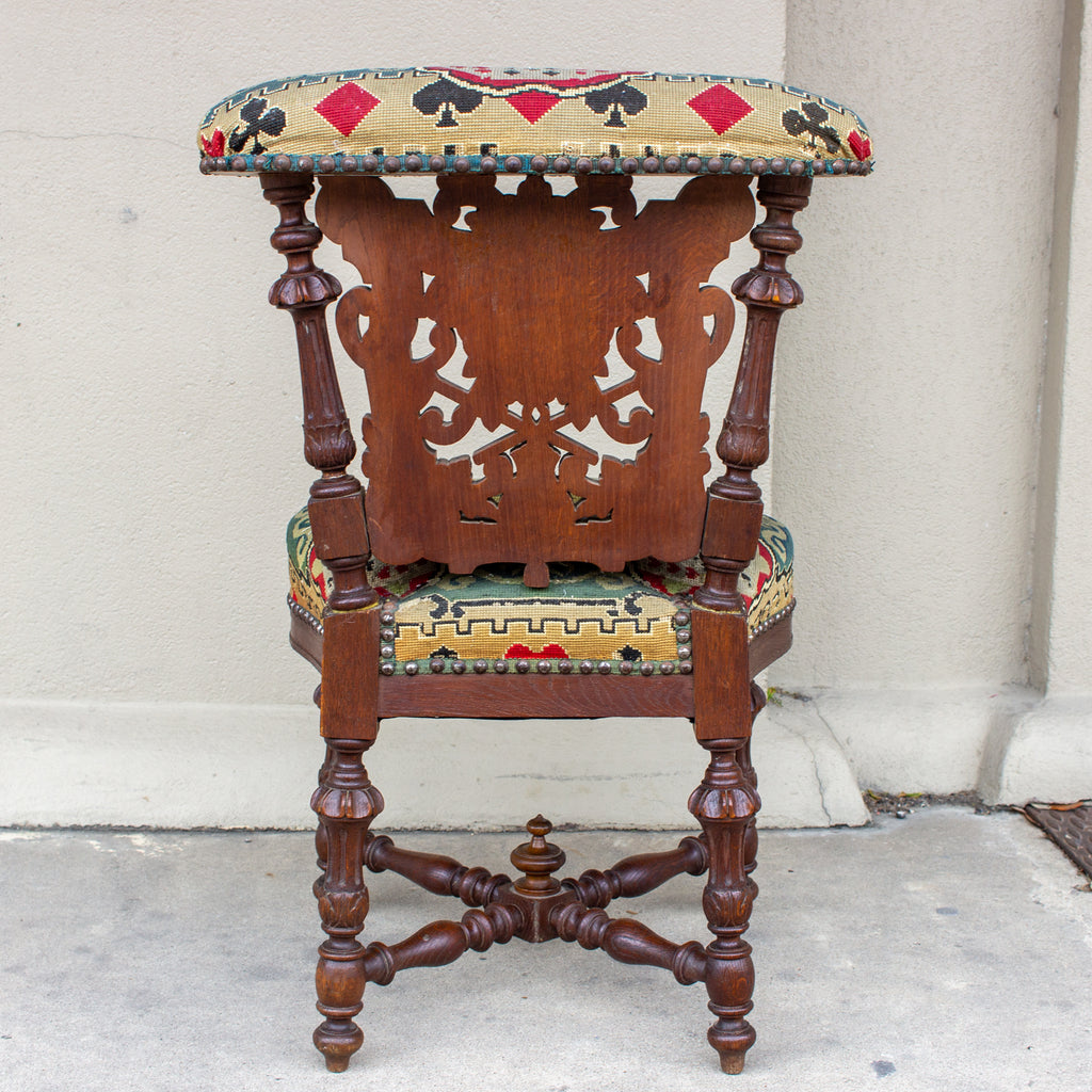 Antique French Carved Wood Smoking Chair with Embroidered Upholstery ca. 1900