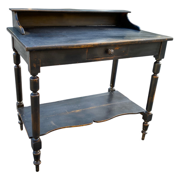 Antique French Writing Desk with Distressed Black Painted Finish