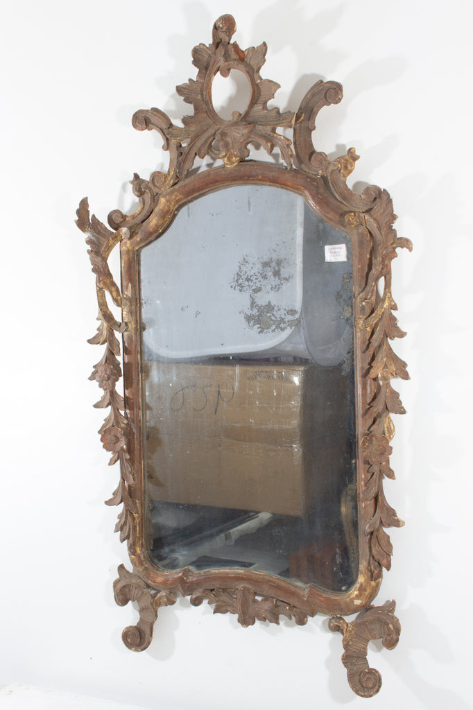 Ornate Antique Italian Rococo Gilt Frame Mirror with Open Carvings