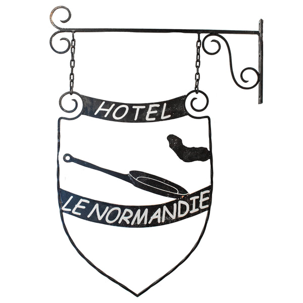 Antique French Iron Trade Sign - Hotel Le Normandie