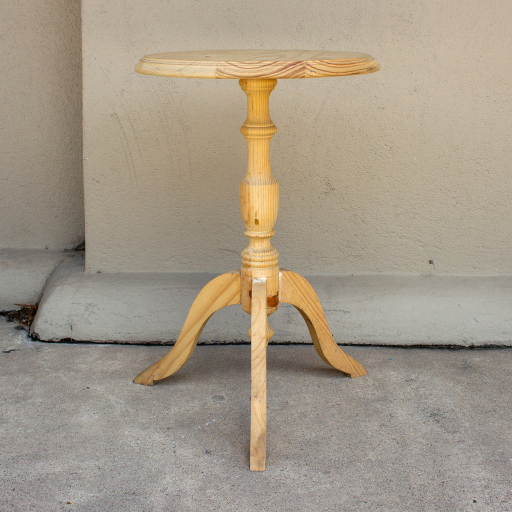 Petite Vintage French Stripped Wood Pedestal Side Table