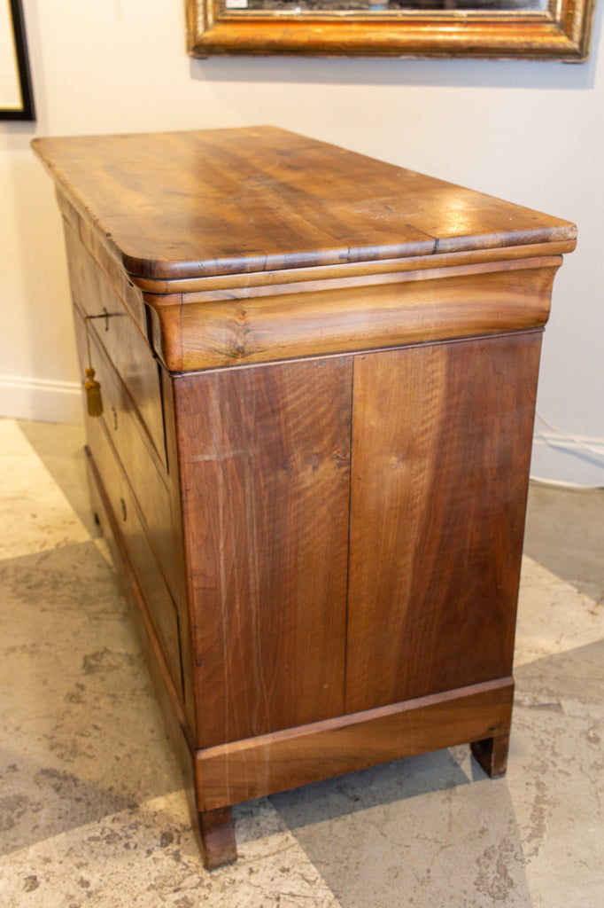 19th Century French Louis Philippe Mahogany Chest of Drawers with Wood Top