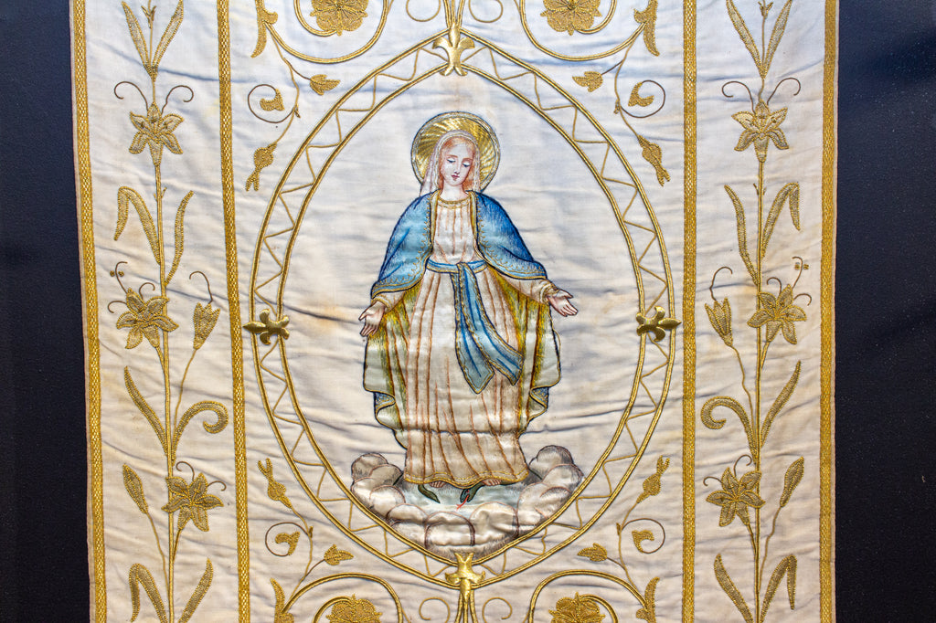 Antique French Embroidered Velvet Tapestry of the Madonna on Iron Hanger