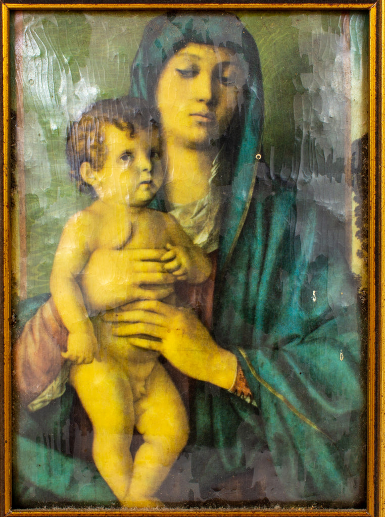 Small Vintage Framed Enameled Reproduction of Bellini's Madonna of the Trees