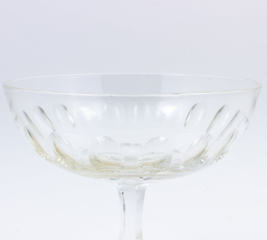 Set of Six Vintage French Cut Crystal Champagne Coupes