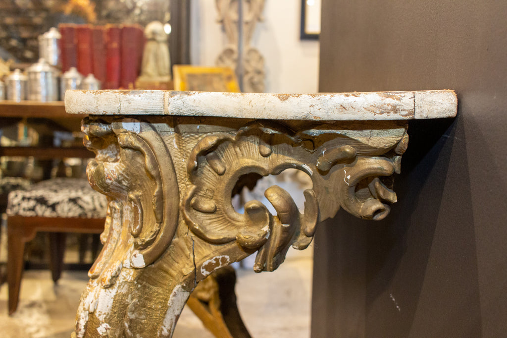 Antique Italian Rococo Wood and Plaster Console with Distressed Gilt Finish