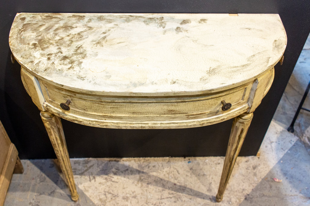 Vintage French Demilune Console with Drawer in Distressed Painted Finish