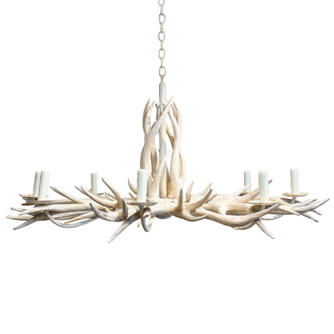 Vintage Hand Carved Wood & Iron Antler Chandelier in Antiqued White