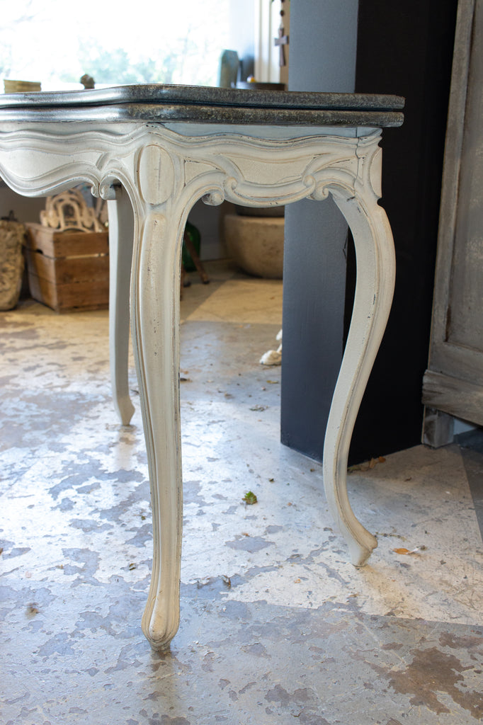 Antique French Console & Game Table with Embossed Leather Top & Painted Finish
