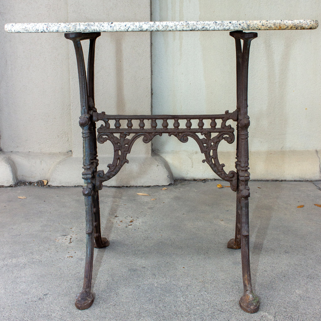 Antique French Marble and Cast Iron Bistro Table, circa 1900