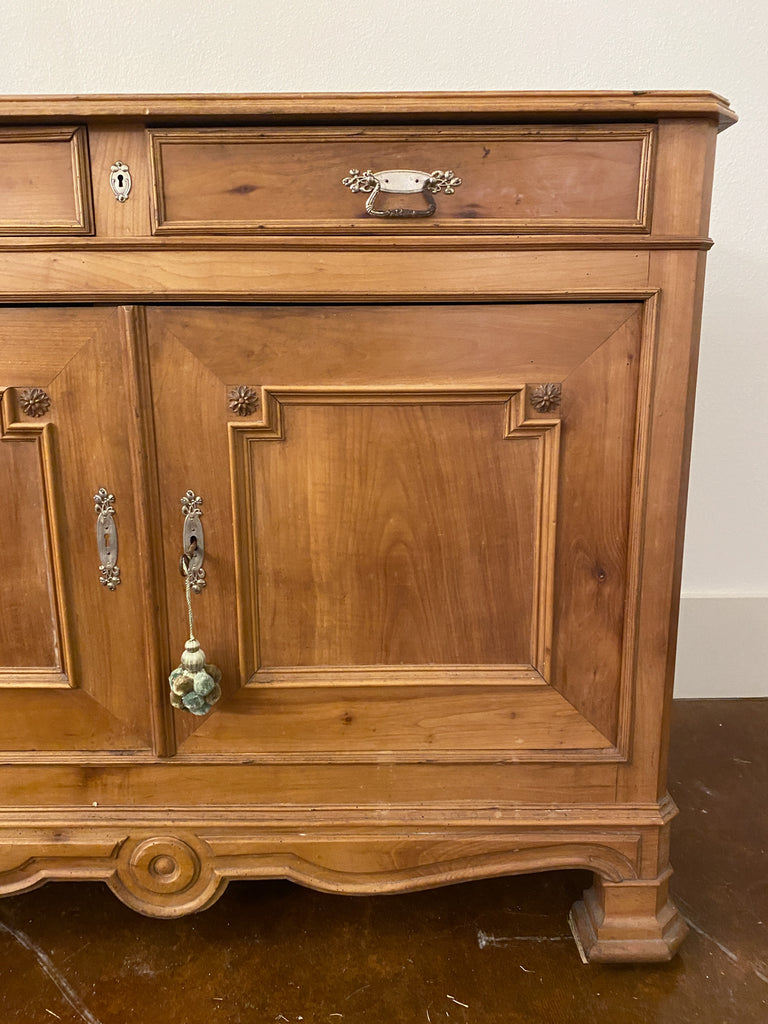 Antique French Carved Oak Buffet with Interior Storage