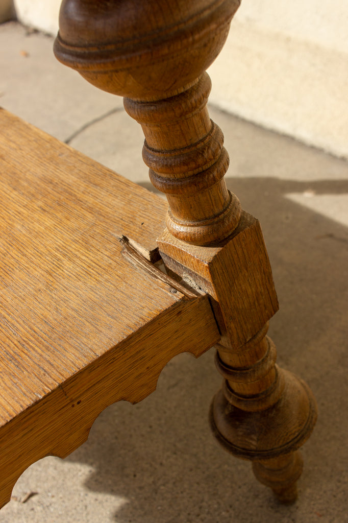 Antique French Oak Gothic Revival Spindle Leg Table with Drawer