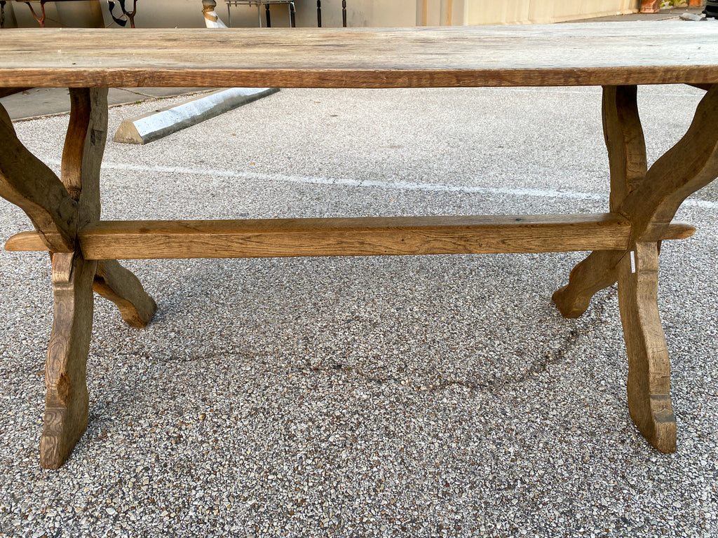1920s French Oak Trestle Style Farm Table