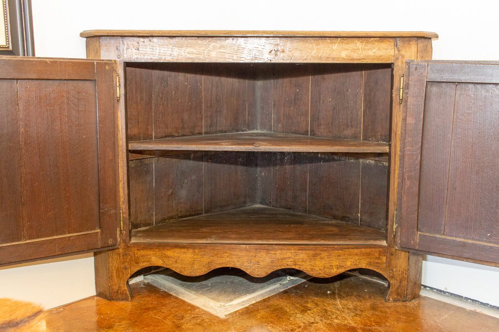 Antique French Oak Corner Cabinet with Key, circa 1880