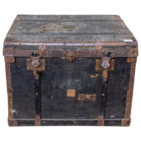 19th Century Distressed Black Canvas and Leather Trunk with Monogrammed Detail