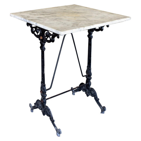 Antique French Iron Bistro Table with Square Marble Top