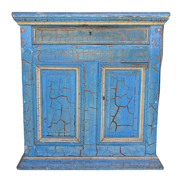 Antique Italian Cabinet in Distressed Blue and Gold Painted Finish