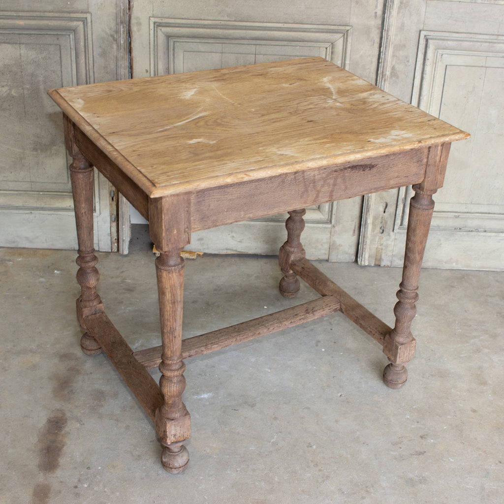 Distressed Antique French Oak Side Table, circa 1910