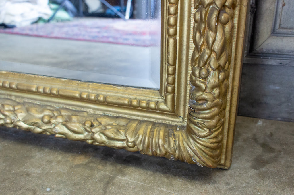 Antique French Large Beveled Glass Mirror with Carved Gilt Frame