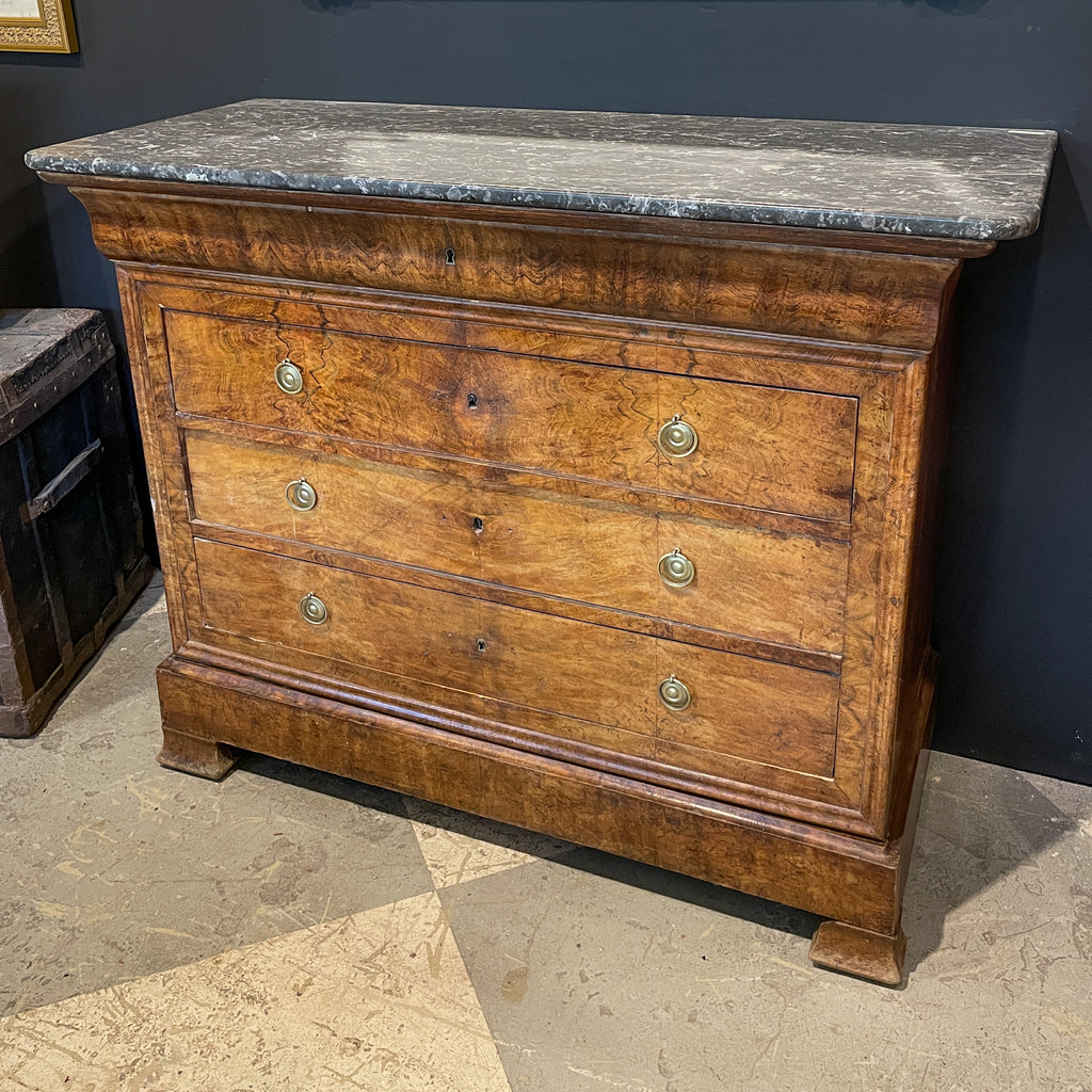Antique French Louis Philippe Five-Drawer Chest with Belgian Marble Top