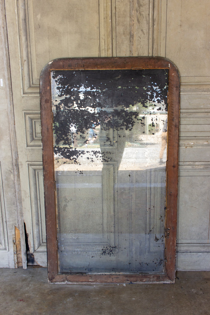 Very Distressed Antique French Louis Philippe Mirror with Black & Gilt Frame