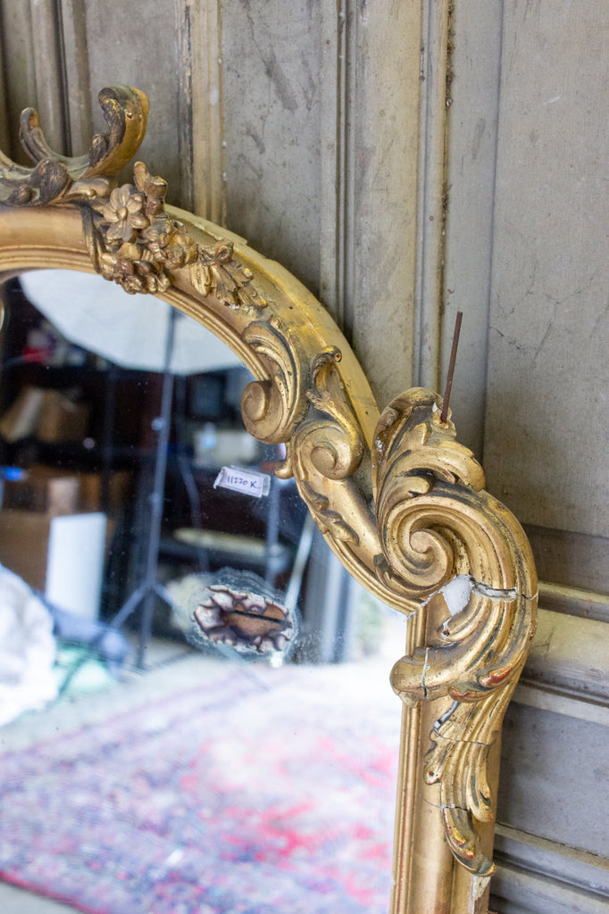 Antique Gilt Full-Length Mirror with Decorative Carvings and Shell Cartouche