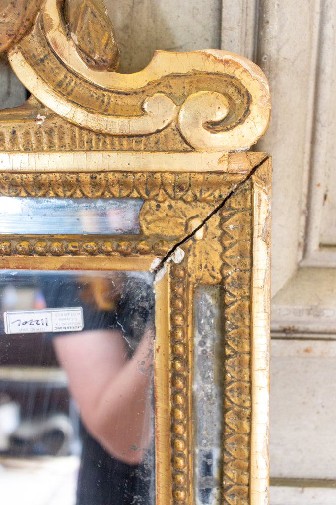 Antique Spanish Gilt Mirror with Open Carvings and Original Glass