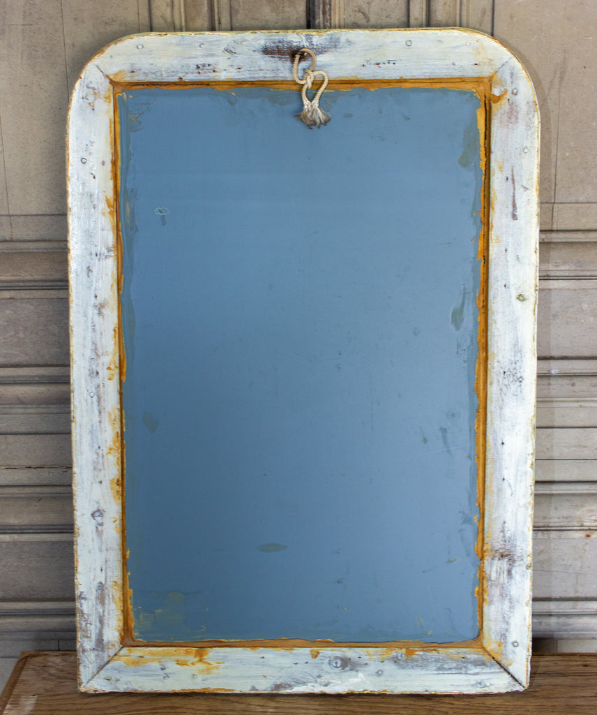 Small Painted Antique French Louis Philippe Mirror in Light Green & Gold Finish