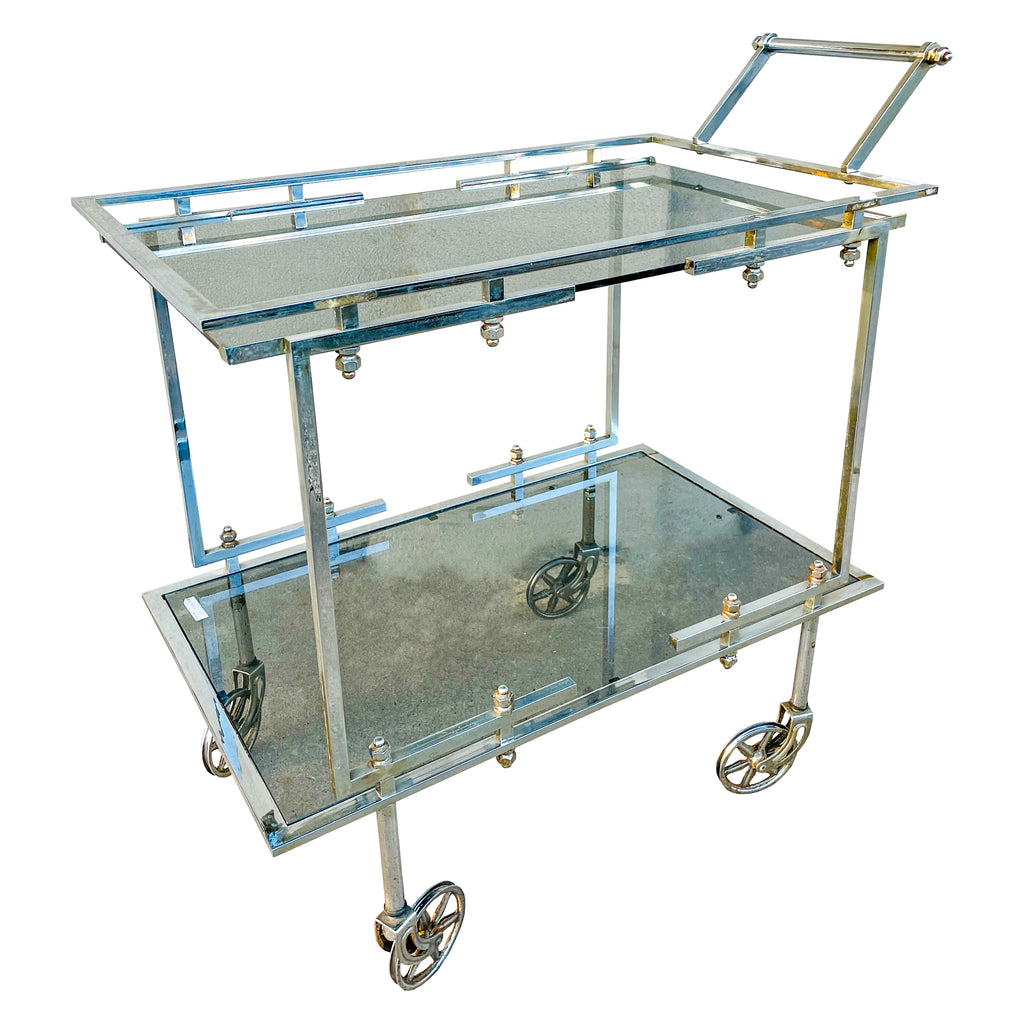 Vintage French Chrome & Smoky Glass Bar Cart ca. 1970