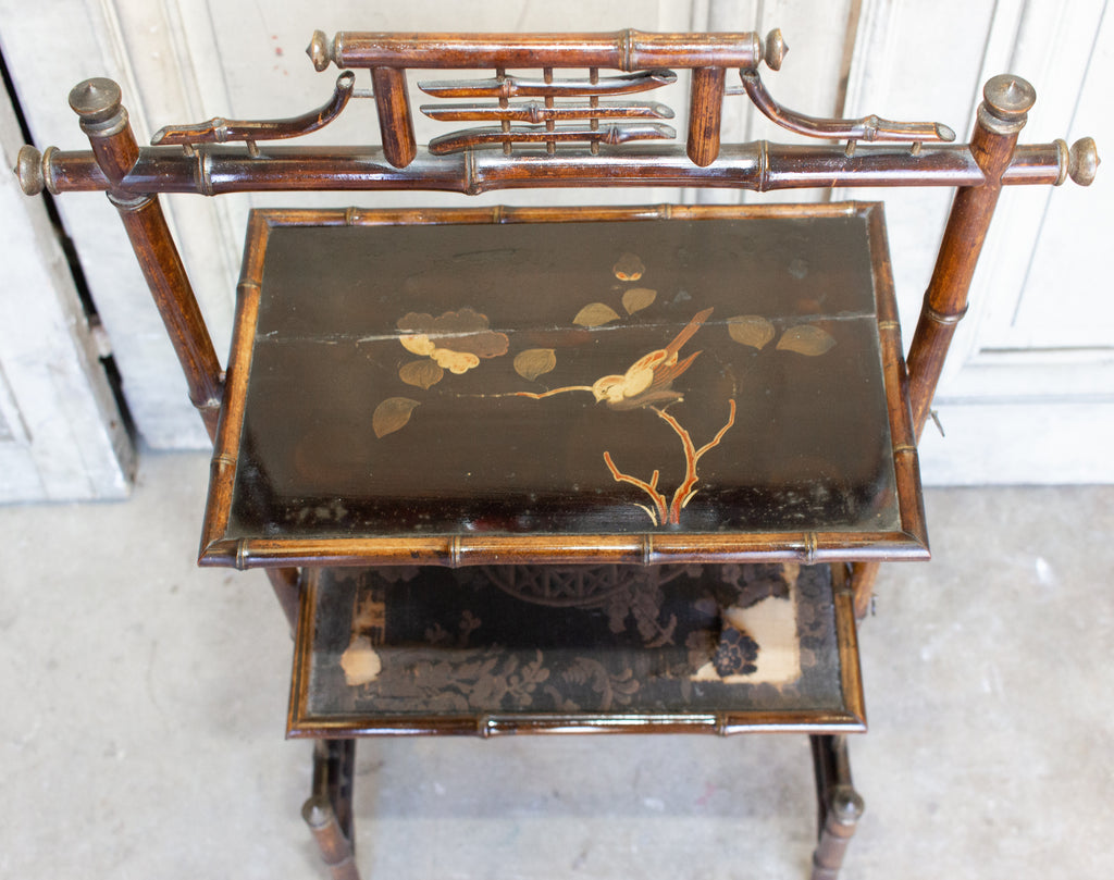 Antique French Faux Bamboo Chinoiserie Étagère Side Table