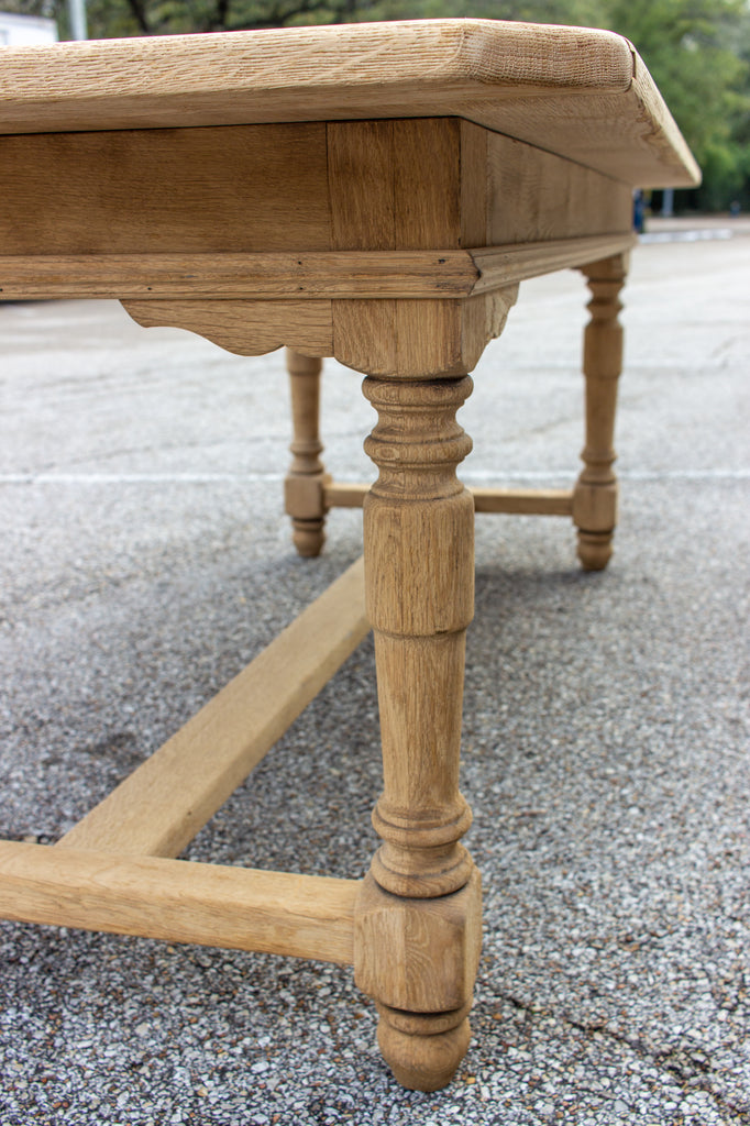 Stripped Antique French Oak Table with Turned Leg Details